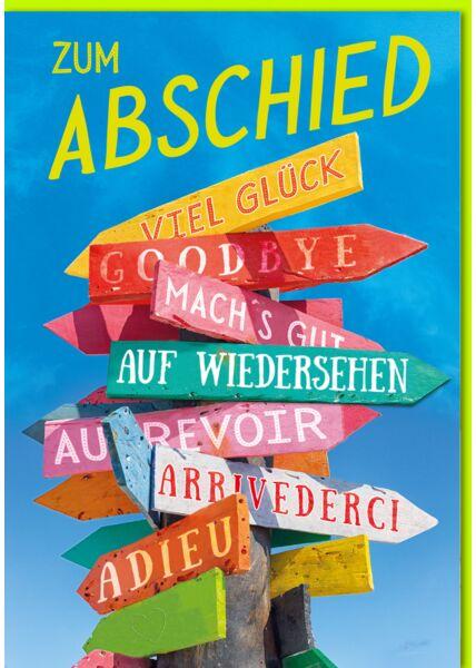 Abschiedskarte - A4, Maxi, XXL bunte Wegweiser