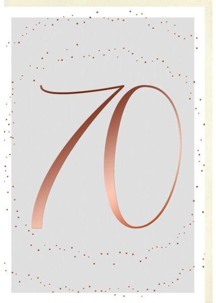 Geburtstagskarte 70 Jahre Schriftkarte, Naturkarton, mit roségoldener Metallicfolie
