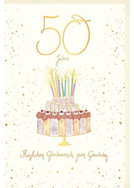 Geburtstagskarte 50 Jahre Geburtstagstorte mit bunten Kerzen, Naturkarton, mit Goldfolie und Blindprägung