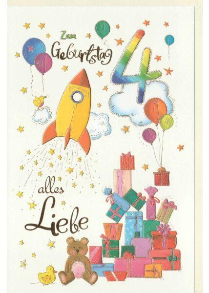 Kindergeburtstag Karte Rakete und Geschenke, Naturkarton, mit Goldfolie und Blindprägung