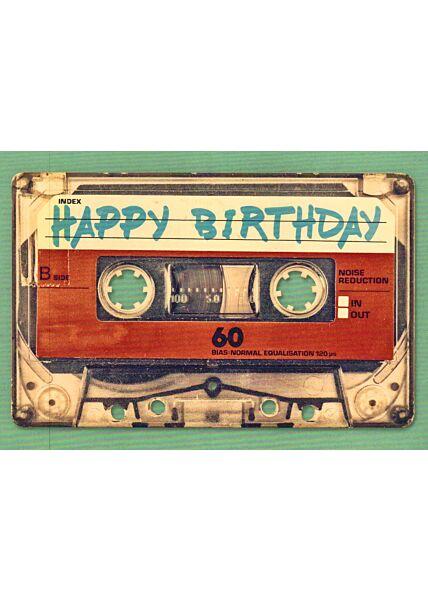 Postkarte Geburtstag Kassette Happy Birthday