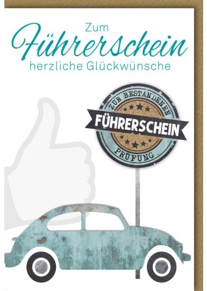 Glückwunschkarte zum Führerschein Käfer türkis