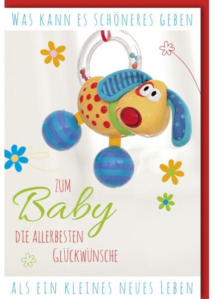 Glückwunschkarte zur Geburt Babyspielzeug in Hundeform