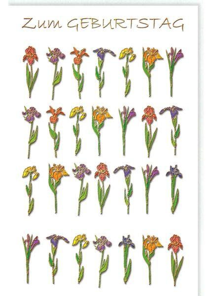 Glückwunschkarte Geburtstag Blumen mit Goldfolie