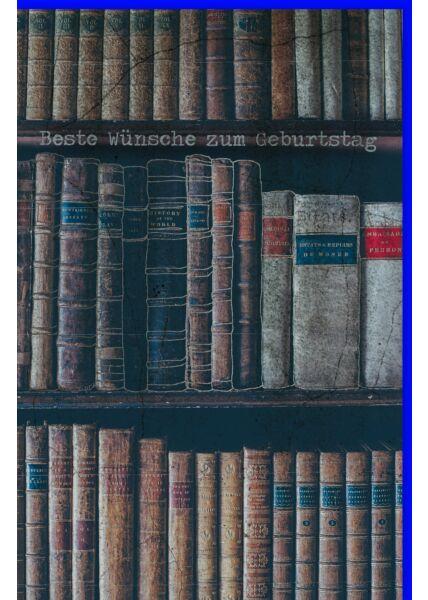 Geburtstagskarte für Männer Alte Bücher im Regal, mit Silberfolie