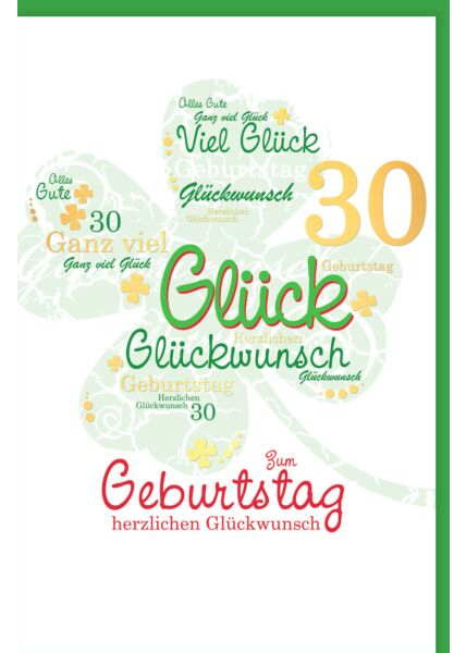 Geburtstagskarte 30 Jahre Kleeblatt Glückwunsch 30