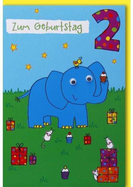 Geburtstagskarte für Kinder 2. Geburtstag Elefant und Mäuse mit Kulleraugen