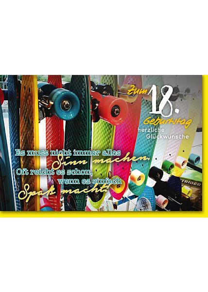 Geburtstagskarte 18. Geburtstag Bunte Skateboards