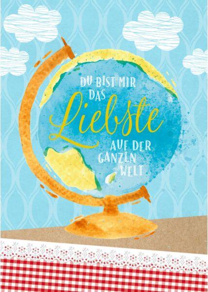 Postkarte Liebe Spruch Du bist mir das Liebste auf der ganzen Welt