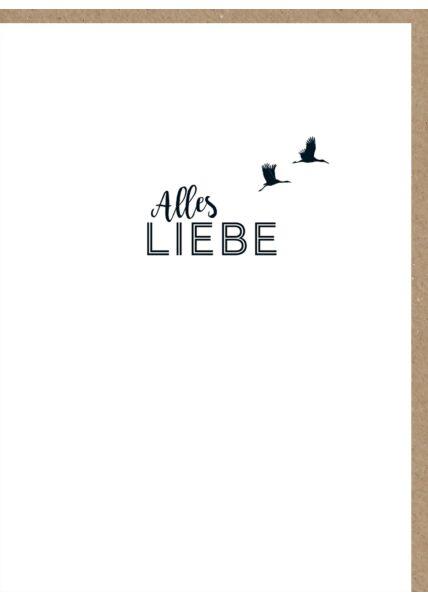Grußkarten Design Vögel hoch Alles Liebe