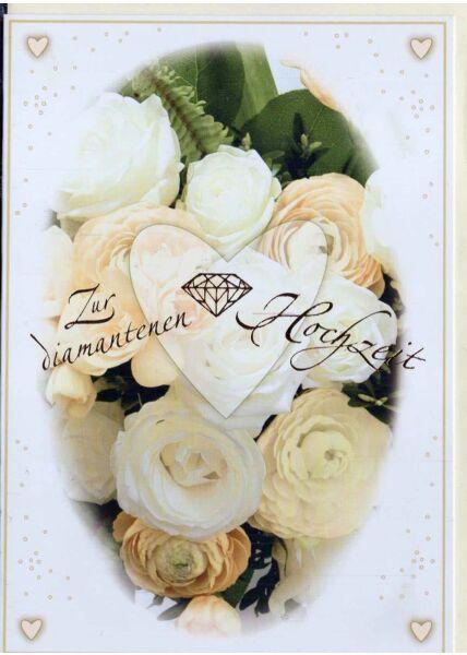 Glückwunschkarte zur diamantenen Hochzeit. Rosen