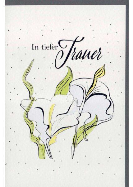 Beileidskarte Blüten und Blätter, Naturkarton, mit Silberfolie