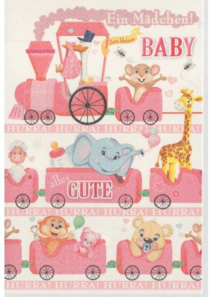 Glückwunschkarte Geburt Mädchen Zug