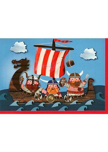 Geburtstagskarte Kinder Junge Piratenschiff