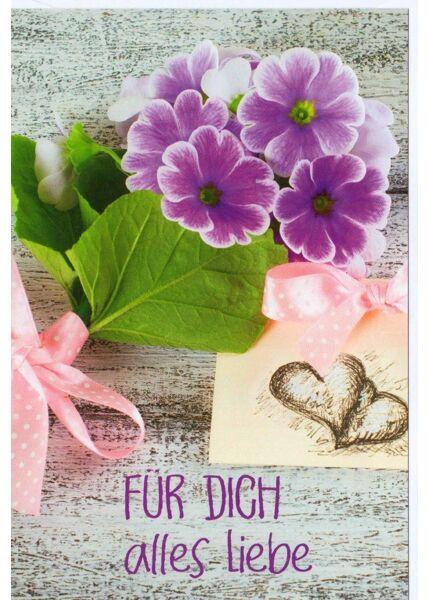Grußkarte für Dich alles Liebe Blume