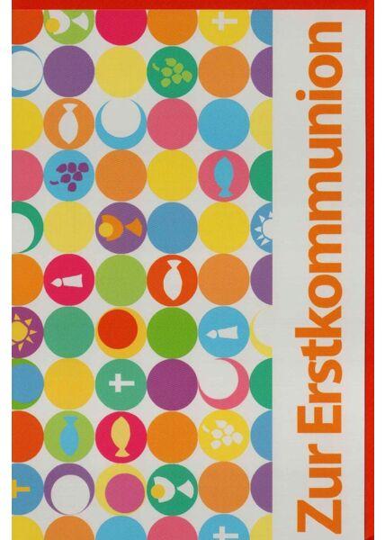 Grußkarte Erstkommunion Punkte bunt