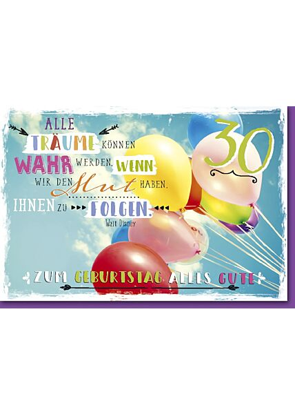 "30.Geburtstagskarte, ""Träume"" Luftballons am Himmel"