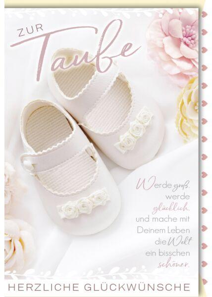 Glückwunschkarte zur Taufe Taufschuhe hell mit Blumen