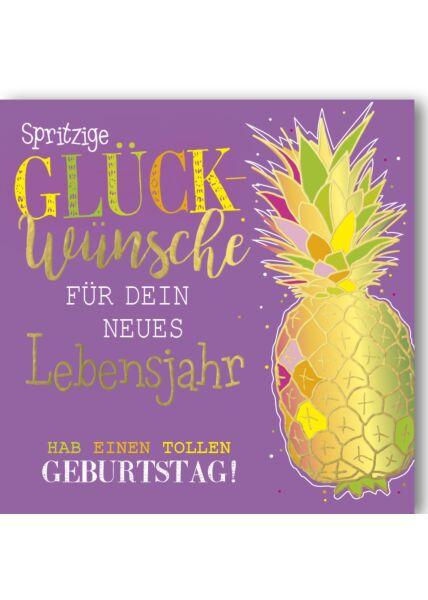 Geburtstagskarte quadratisch Ananas