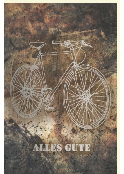 Geburtstagskarte für Männer Silhouette eines Herrenfahrrads