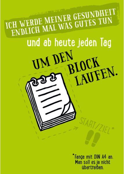 Postkarte Sprüche um den Block laufen