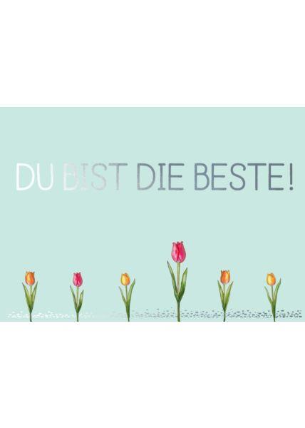 Postkarte Spruch Freunschaft Cityproducts Tulpen - Du bist die Beste