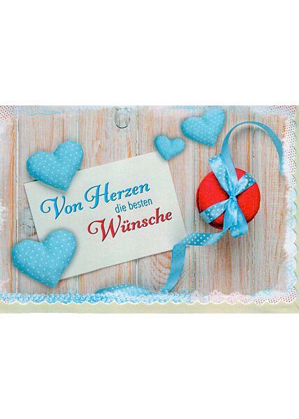 Geburtstagskarte: blaue Herzen
