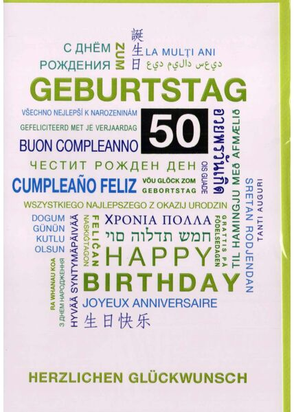 Geburtstagskarte 50. Geburtstag: Glückwünsche in verschiedenen Sprachen