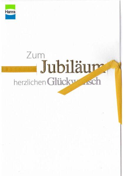 Jubiläum: Text au weiß mit goldener Schleife