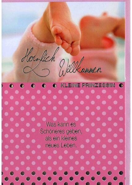 Karte Geburt Mädchen: Babyfüße auf rosa