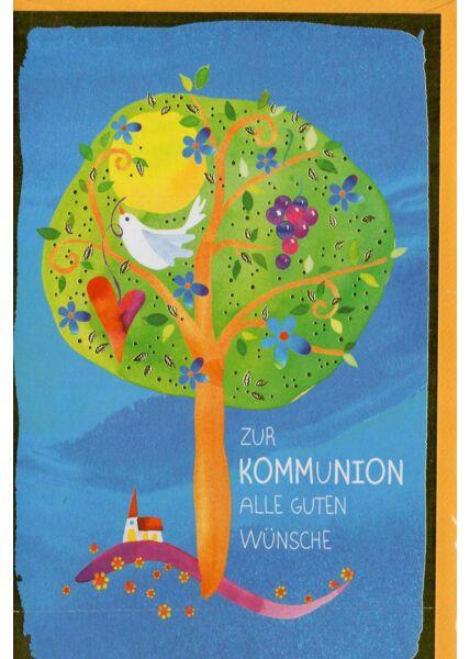 Grußkarte Kommunion mit Baum