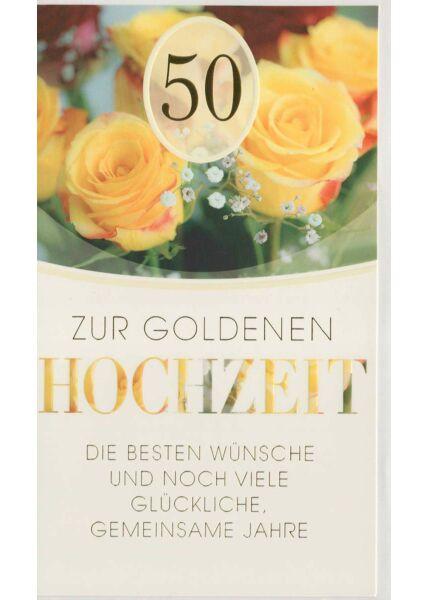 Glückwunschkarte goldene Hochzeit Rosen gelb und rot