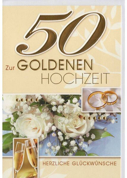 Glückwunschkarte goldene Hochzeit 50 im Herzen