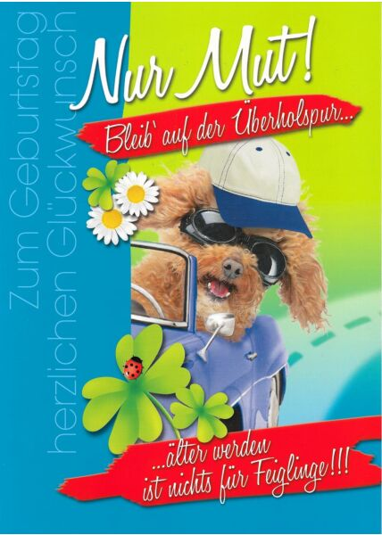 XXL Maxi Geburtstagskarte Hund Auto