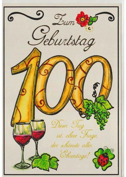 Karte zum 100 Geburtstag Ehrentag