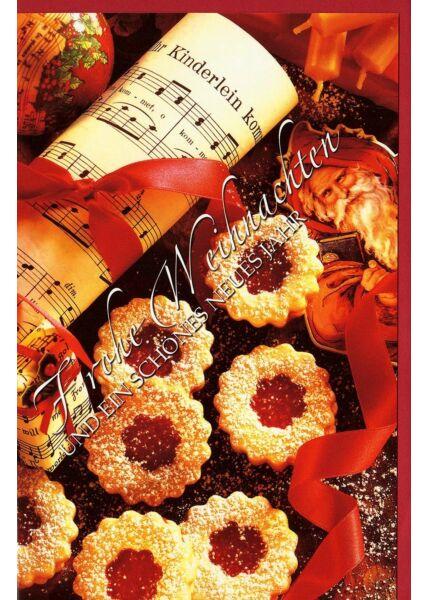 Weihnachtskarten Musiknoten und Gebäck