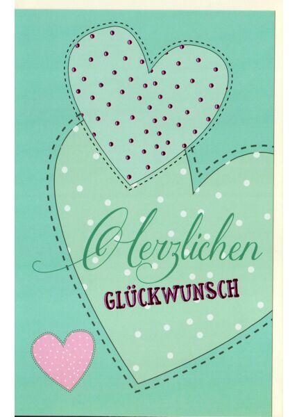 Glückwunschkarte Gezeichnete Herzen, mit pinker Folie