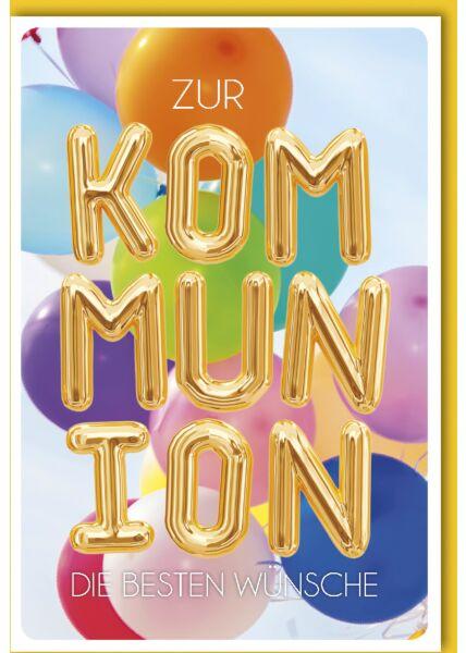 Glückwunschkarte Kommunion - Luftballon-Buchstaben