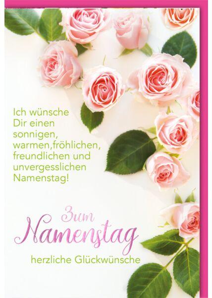 Namenstagskarte - Rosa Rosen zum Namenstag