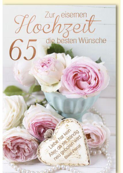 65. Hochzeitskartestag - Rosafarbene Teerosen mit Herz