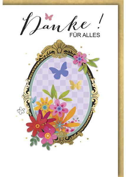Danksagungskarte: Spiegel mit Blumen & Schmetterlinge