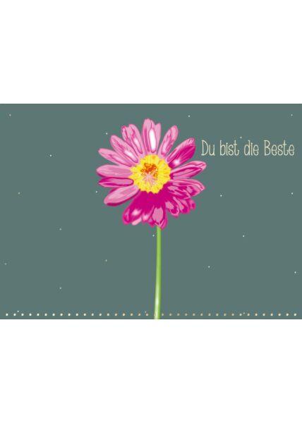 Postkarte Spruch Gerbera - Du bist die Beste