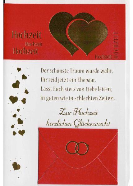 Hochzeitskarte mit Kuvert für Geldgeschenk