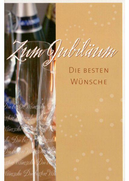 Jubiläumskarte Sektflaschen die besten Wünsche
