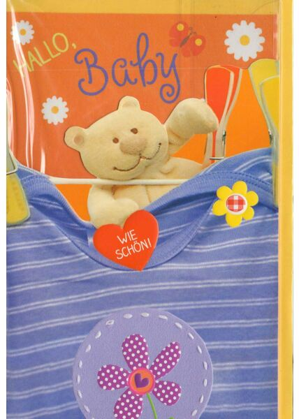 Glückwunschkarte Geburt Baby T-Shirt und Bär