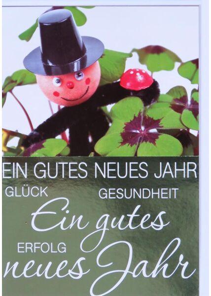 Neujahrskarte Goldfolie Schornsteinfeger