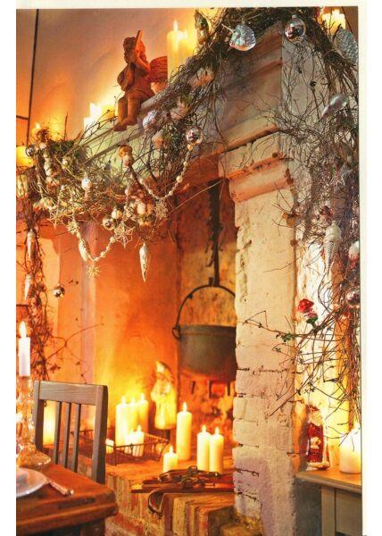 Weihnachtskarte Kamin Kerzen Deko