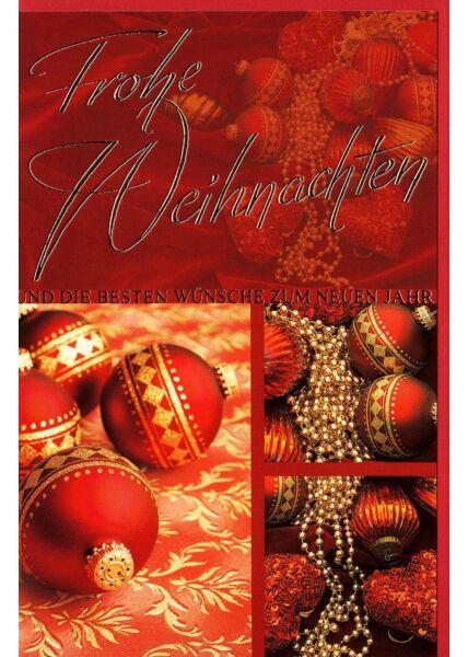 Weihnachtskarte mit Weihnachtskugeln rot