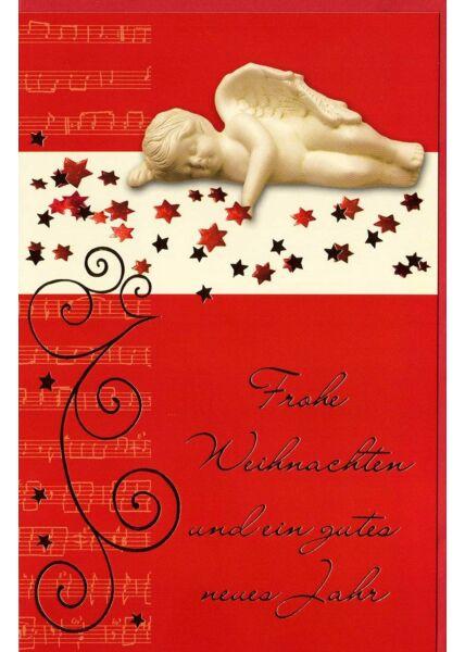 Weihnachtskarte Engel kleine Sterne rot