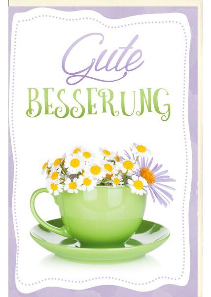 Karte Gute Besserung Kaffeetasse mit Kamillenblüten, mit Glimmer
